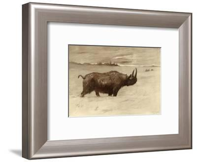 A Painting of a Woolly Rhinoceros Tichorhinus of the Pleistocene Age-Charles R. Knight-Framed Giclee Print