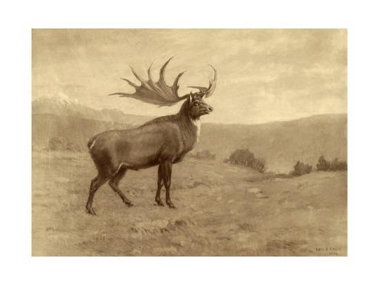 A Painting of an Irish Elk of the Pleistocene Era-Charles R. Knight-Giclee Print