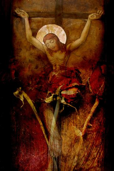 A Painting of Jesus with a Photographic Montage of Red Roses-Alaya Gadeh-Photographic Print