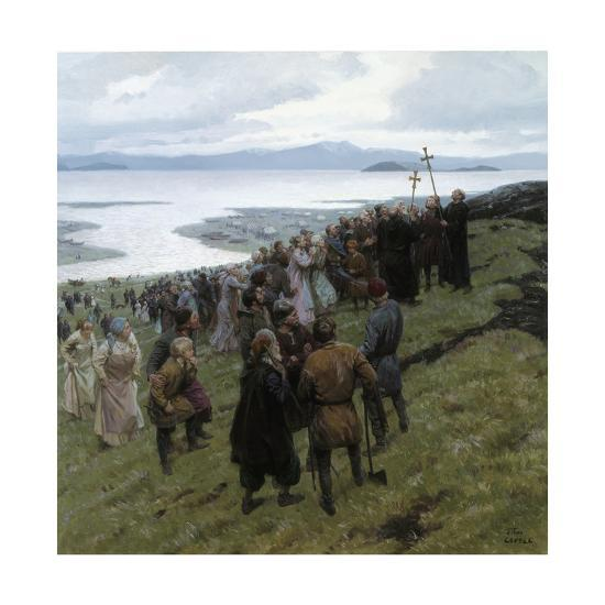 A Painting Shows the Christian Clergy Preaching to a Norse Settlement-Tom Lovell-Giclee Print