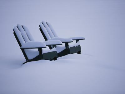 A Pair of Adirondack Chairs in the Snow-Michael Melford-Photographic Print