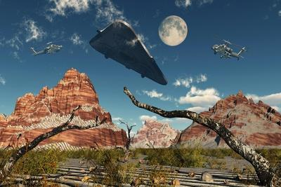 A Pair of Ah-64 Apache Black Ops Helicopters Chasing a Ufo--Art Print