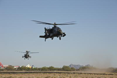 A Pair of Ah-64D Apache Longbow Helicopters Taking Off-Stocktrek Images-Photographic Print