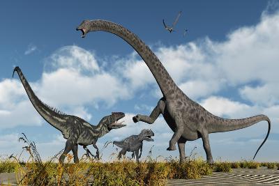 A Pair of Allosaurus Dinosaurs Confront a Giant Diplodocus--Art Print