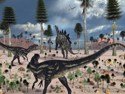A Pair of Allosaurus Dinosaurs Confront a Lone Stegosaurus-Stocktrek Images-Photographic Print