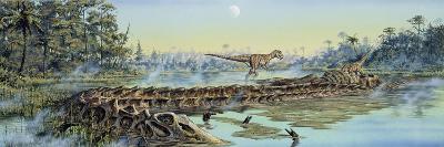 A Pair of Allosaurus Dinosaurs Explore the Remains of a Diplodocus Carcass--Art Print