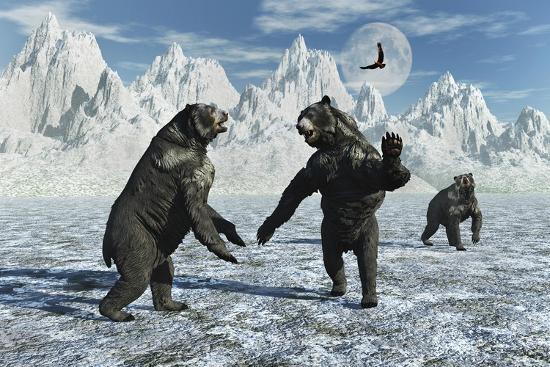 A Pair of Arctodus Bears in a Territorial Dispute-Stocktrek Images-Art Print