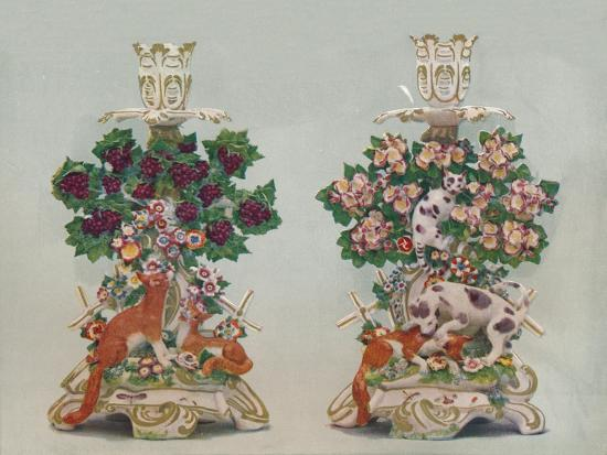 'A Pair of Chelsea Candlesticks', c18th century-Unknown-Giclee Print