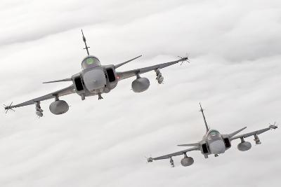 A Pair of Hungarian Air Force Jas-39 Gripen over Lithuania-Stocktrek Images-Photographic Print