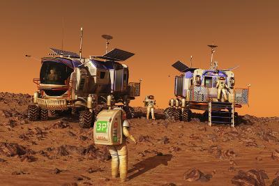 A Pair of Manned Mars Rovers Rendezvous on the Martian Surface-Stocktrek Images-Art Print
