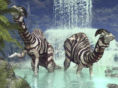 A Pair of Parasaurolophus Feed on Flora Near a Waterfall-Stocktrek Images-Photographic Print