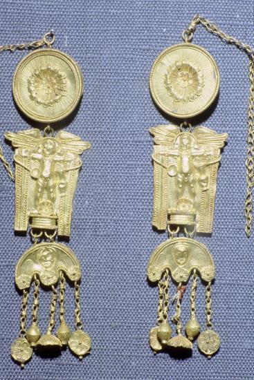 A pair of Roman gold earrings from Granada, Spain. Artist: Unknown-Unknown-Giclee Print