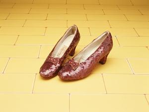 "A Pair of Ruby Slippers Worn by Judy Garland in the 1939 MGM film ""The Wizard of Oz"""