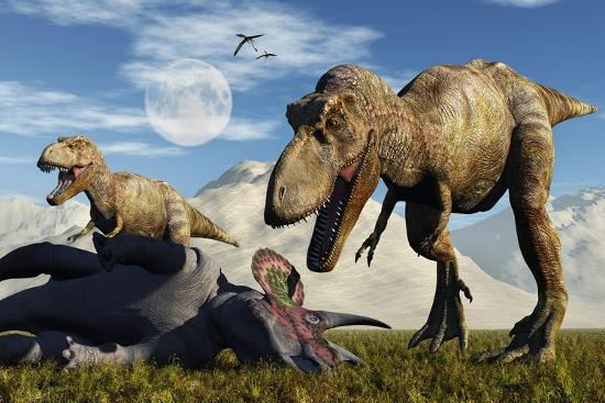 A Pair of Tyrannosaurus Rex Dinosaurs Ready to Make a Meal of a Dead Triceratops-Stocktrek Images-Art Print