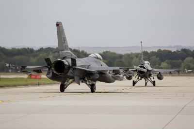 A Pair of U.S. Air Force F-16C Fighting Falcons Taxiing on the Runway-Stocktrek Images-Photographic Print