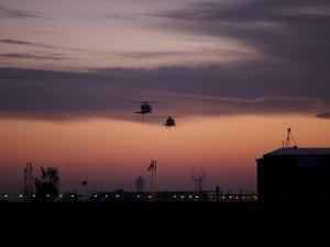 A Pair of UH-60 Black Hawk Helicopters Approach their Landing in Baghdad, Iraq