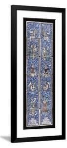 A Panel of Twelve Qajar Moulded Pottery Tiles