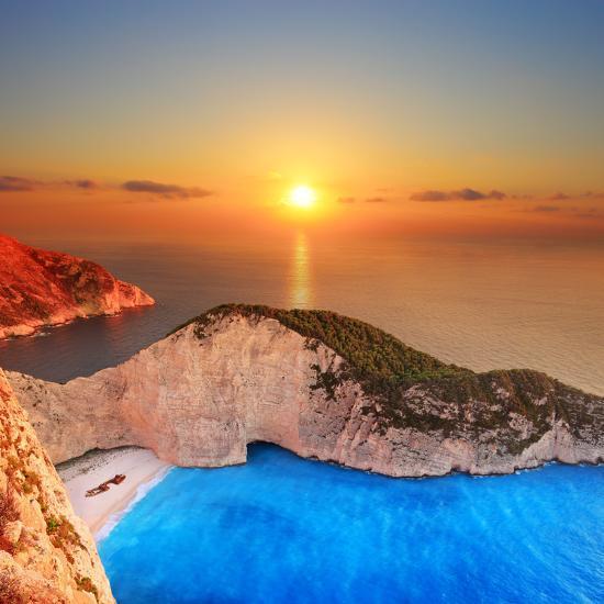 A Panorama of Sunset over Zakynthos Island, Greece-Ljsphotography-Photographic Print
