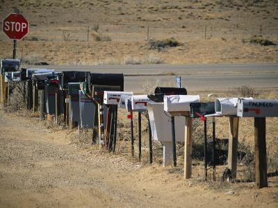 A Parade of Mailboxes on the Outskirts of Santa Fe-Stephen St^ John-Photographic Print