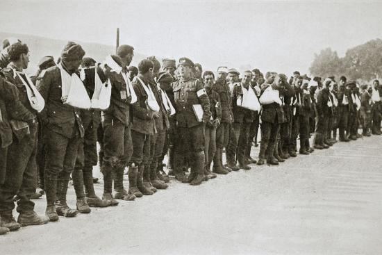 A parade of the walking wounded, Somme campaign, France, World War I, 1916-Unknown-Photographic Print