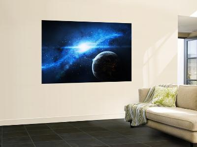 A Paradise World with a Huge City Looks Out on a Beautiful Nebula-Stocktrek Images-Wall Mural