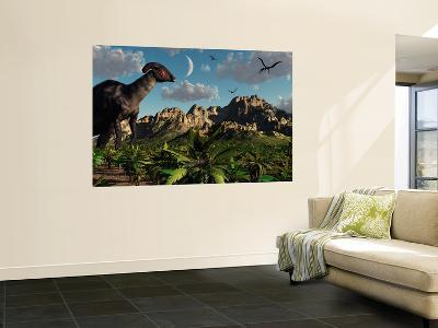 A Parasaurolophus Dinosaur During the Late Cretaceous Period-Stocktrek Images-Wall Mural