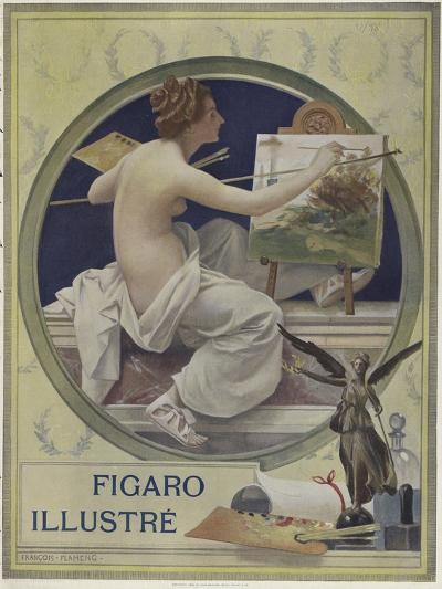 A Partially-Nude Woman Painting at an Easel-Francois Flameng-Giclee Print