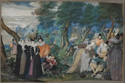 A party in the Open Air. Allegory on Conjugal Love, c. 1590-1595-Isaac Oliver-Giclee Print