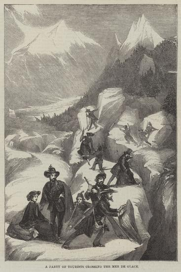 A Party of Tourists Crossing the Mer De Glace--Giclee Print