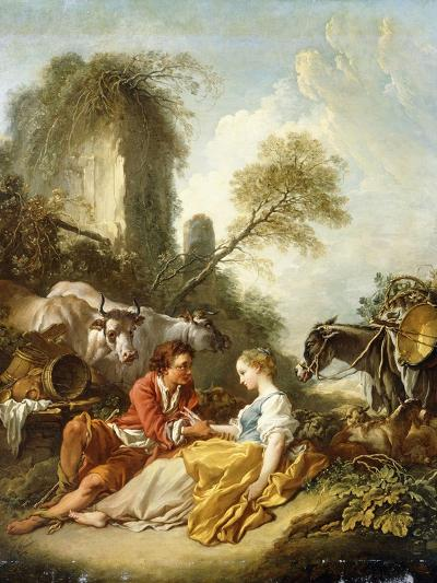 A Pastoral Landscape with a Shepherd and Shepherdess Seated by Ruins-Francois Boucher-Giclee Print