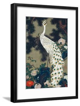 A Peacock, Pine and Peony-Jakuchu Ito-Framed Giclee Print