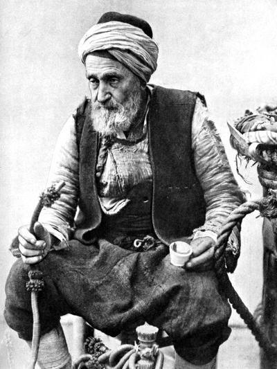 A Peasant Drinking Coffee and Smoking a Huqqah, Izmir, Turkey, 1936--Giclee Print
