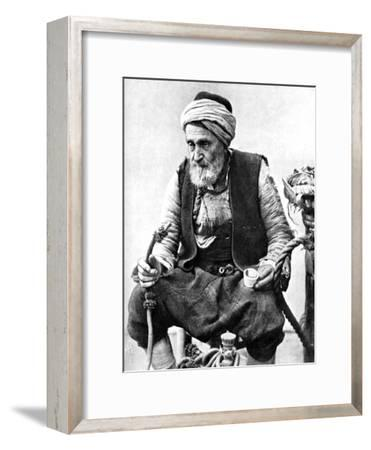 A Peasant Drinking Coffee and Smoking a Huqqah, Izmir, Turkey, 1936--Framed Giclee Print