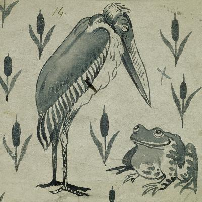 A Pelican and Frog in Conversation (W/C on Paper)-William De Morgan-Giclee Print