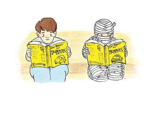 A person and a mummy reading self help books. - Cartoon-Emily Flake-Premium Giclee Print