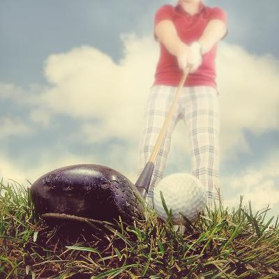 A Person Playing Golf-graphicphoto-Photographic Print