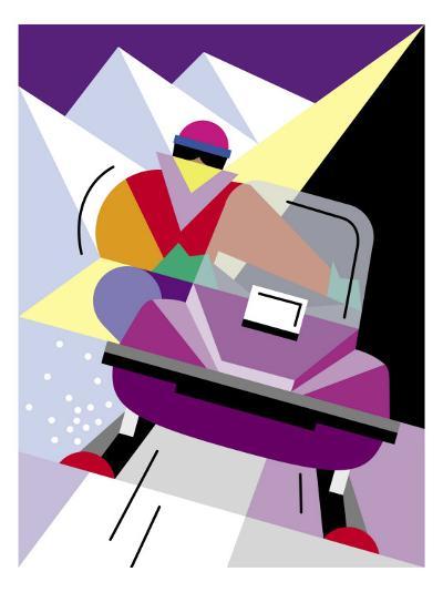 A Person Riding a Snowmobile--Art Print