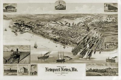A Perspective Map of Newport News, Virginia--Giclee Print