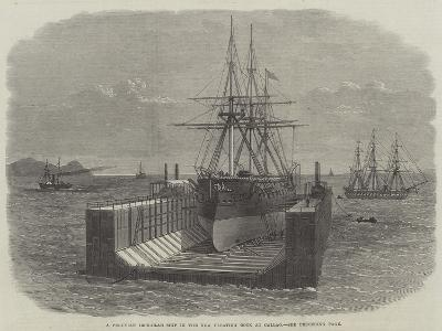 A Peruvian Iron-Clad Ship in the New Floating Dock at Callao--Giclee Print