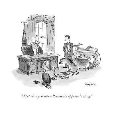 """""""A pet always boosts a President's approval rating."""" - Cartoon-Pat Byrnes-Premium Giclee Print"""