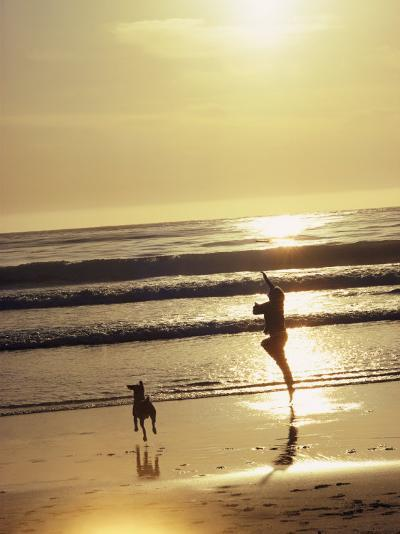 A Pet Dog Runs with its Owner on a Beach-Bill Curtsinger-Photographic Print