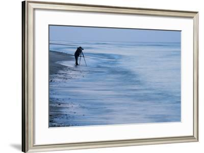 A Photographer Takes Images at Marconi Beach in Welfleet, Massachusetts-Michael Melford-Framed Photographic Print