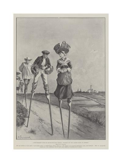 A Picturesque Scene in South-Western France, Peasants of the Landes Going to Market-Paul Frenzeny-Giclee Print