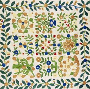 A Pieced and Appliqued Cotton Album Crib Quilt, American, circa 19th Century