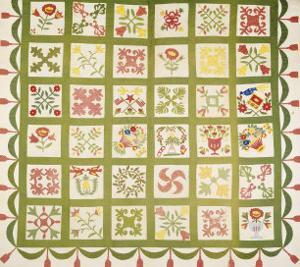 A Pieced and Appliqued Cotton Quilted Coverlet, Baltimore, Dated 1845
