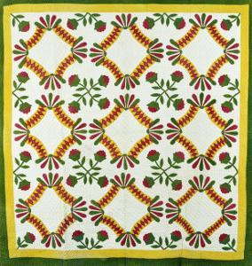 A Pieced and Appliqued Cotton Quilted Coverlet, North Carolina, circa 1850