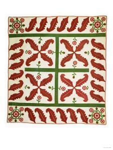 A Pieced and Appliqued Cotton Quilted Coverlet, Probably New Jersey, circa 1851