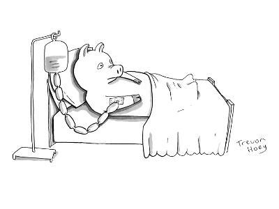 A pig is hooked up to an IV shaped like sausages, as he lies in a hospital? - New Yorker Cartoon-Trevor Hoey-Premium Giclee Print