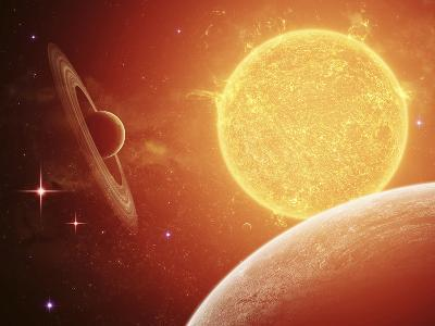 A Planet and its Moon Resisting the Relentless Heat of the Giant Orange Sun Pollux-Stocktrek Images-Photographic Print