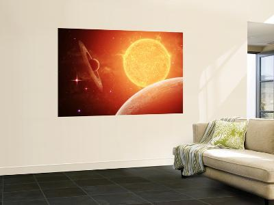A Planet and its Moon Resisting the Relentless Heat of the Giant Orange Sun Pollux-Stocktrek Images-Wall Mural